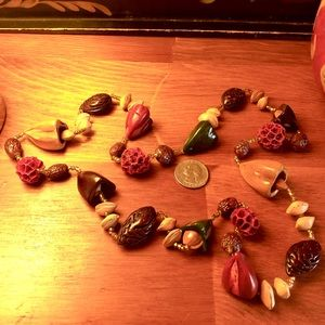 Vintage seed pod necklace, red, burgundy, browns